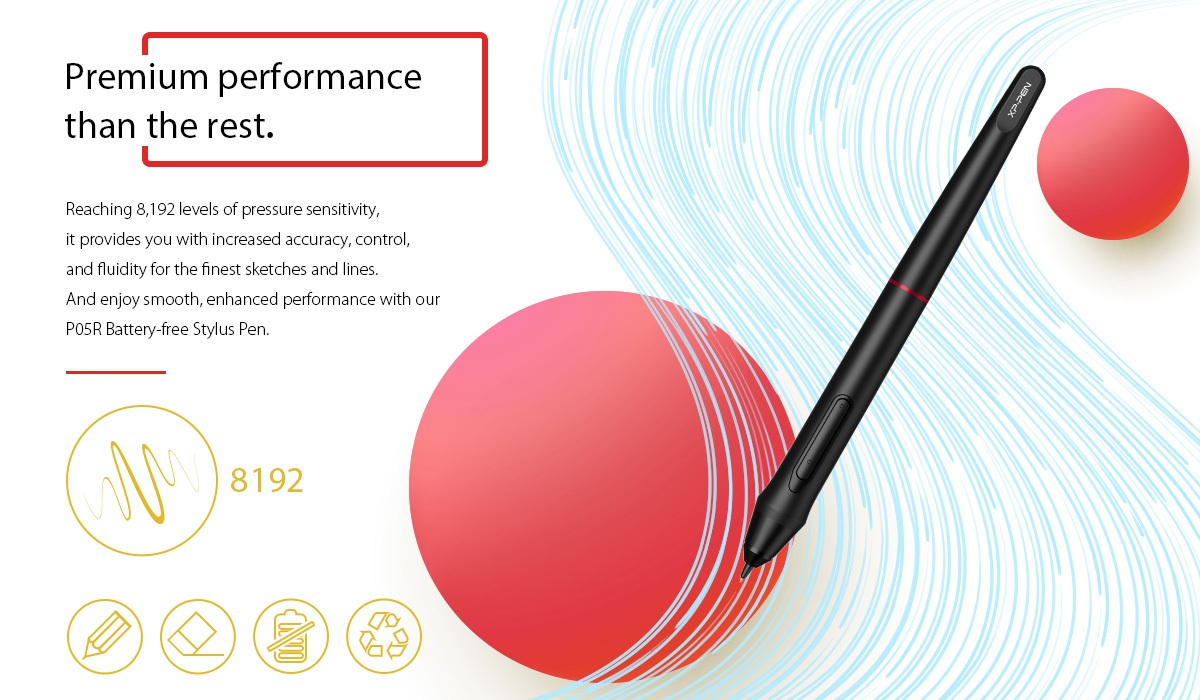 Artist15.6 Pro stylus with 8192 pressure levels