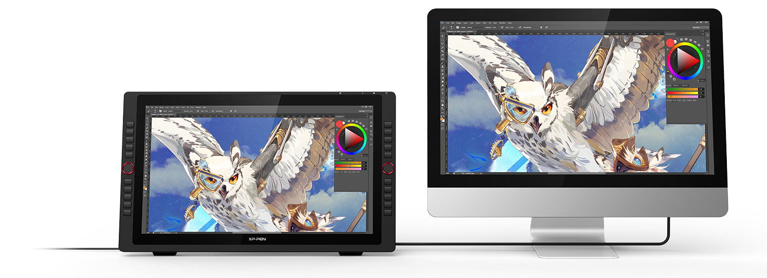 XP-Pen Artist 22R Pro Graphic Pen Display supports a USB-C to USB-C connection